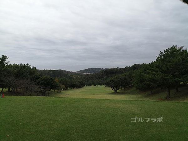 鎌倉パブリックゴルフ場の14番ホールのティーショット