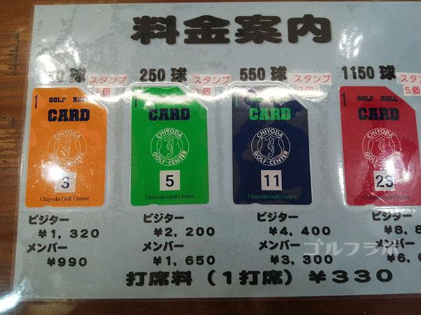 千代田ゴルフセンターのプリペイドカード