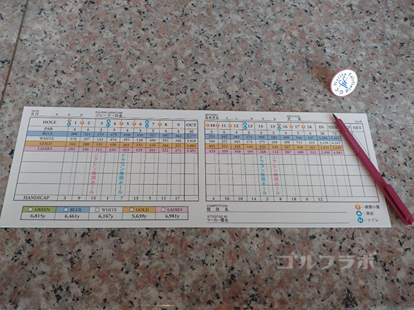 成田フェアフィールドゴルフクラブのスコアカード